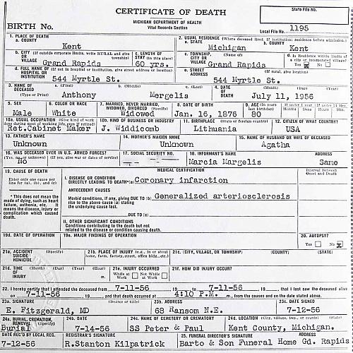 Anthony Margelis Death Certificate