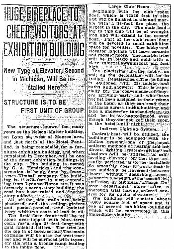 Pantlind Exhibition Building Article