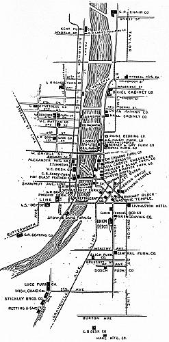 Grand Rapids Furniture Industry Map, 1897