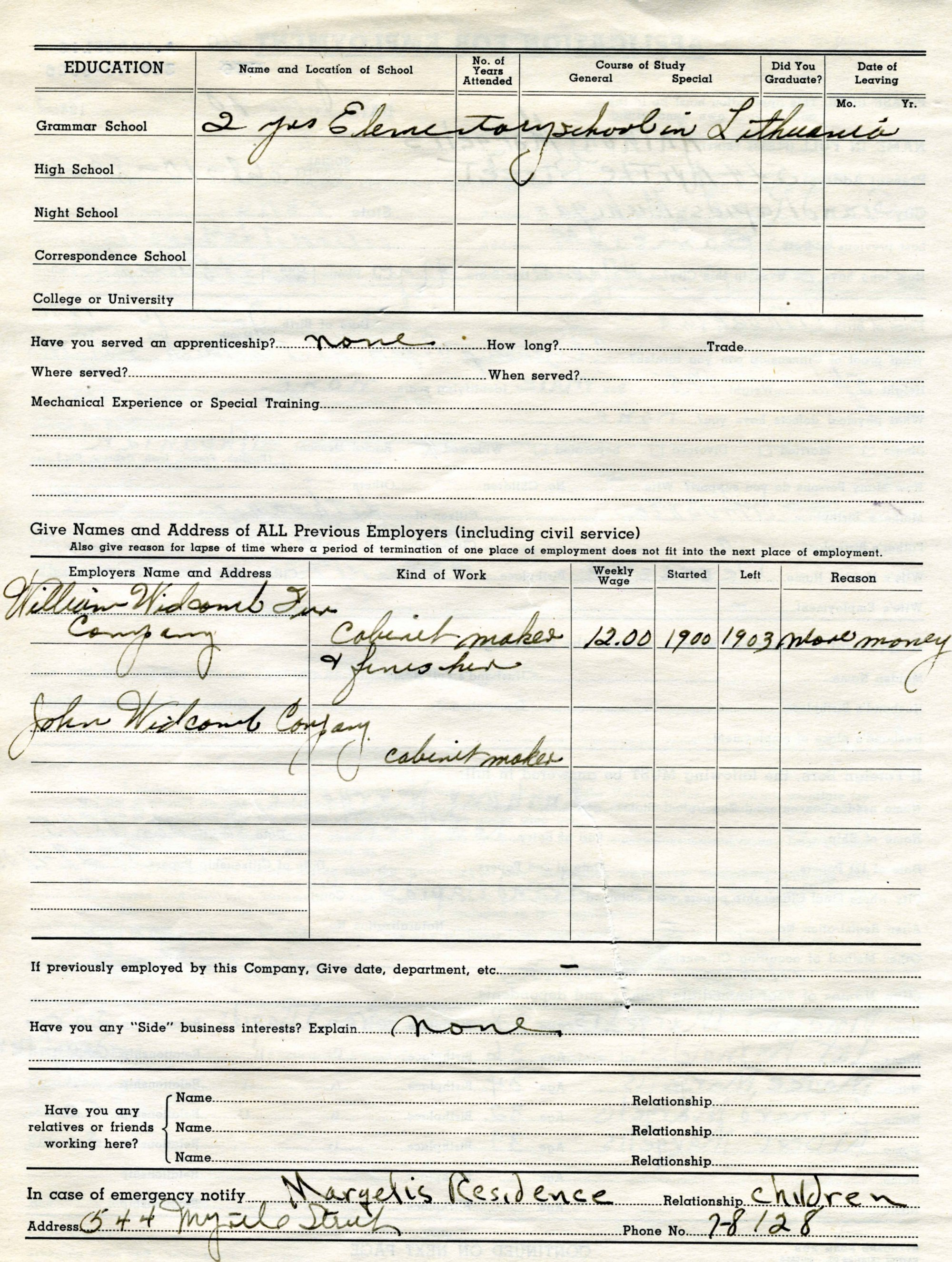 john widdicomb co employment application page 2 furniture city history