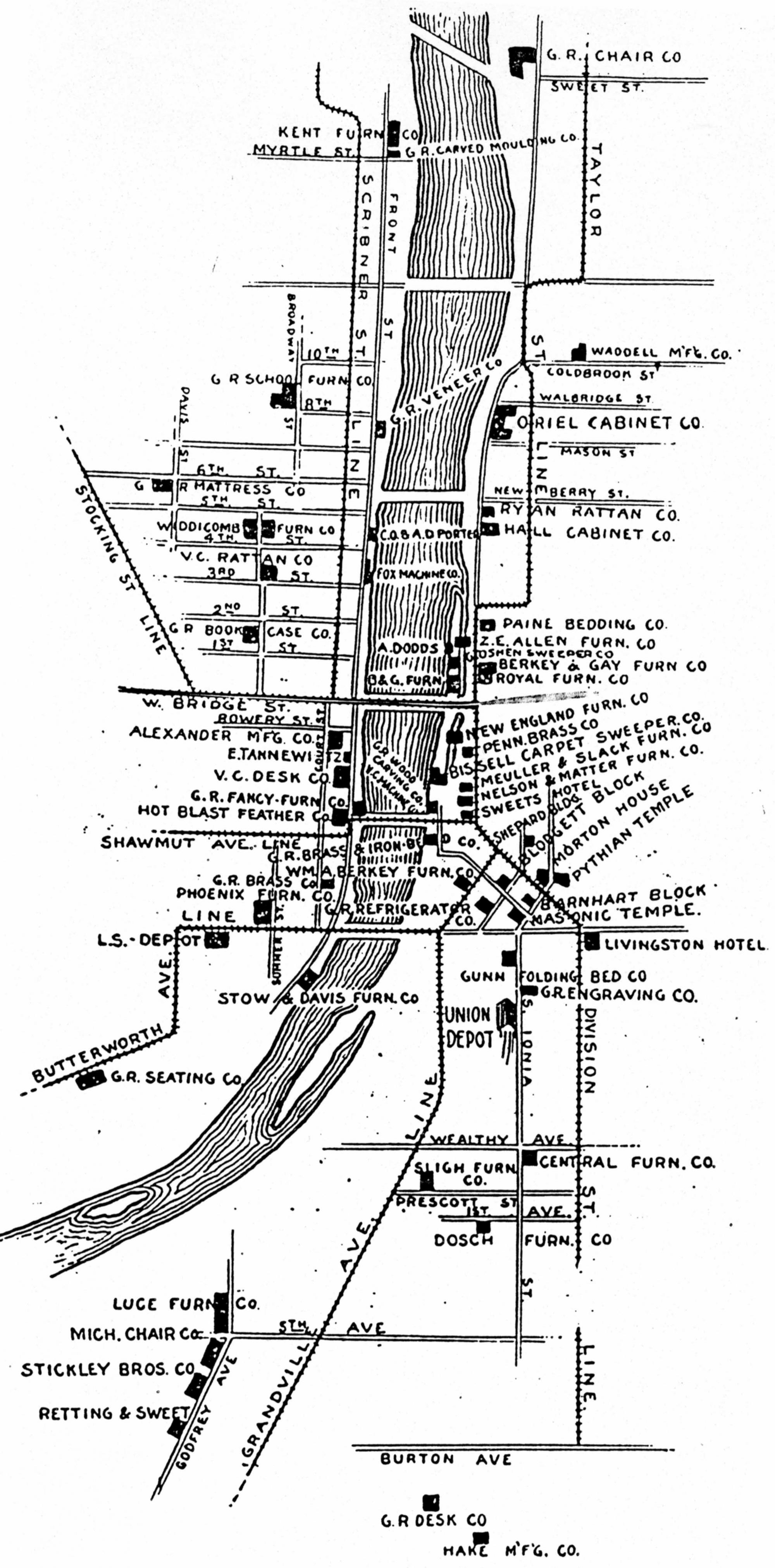 grand rapids furniture industry map, 1897 | furniture city history