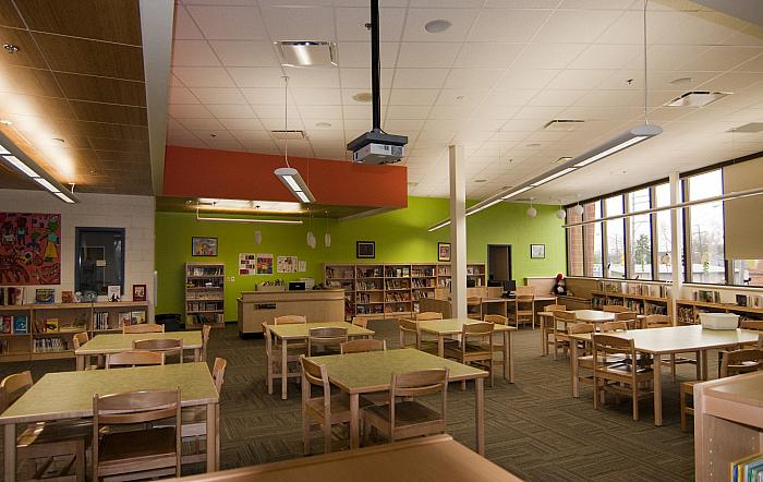 Cesar E. Chavez Elementary School, Media Center, Looking North